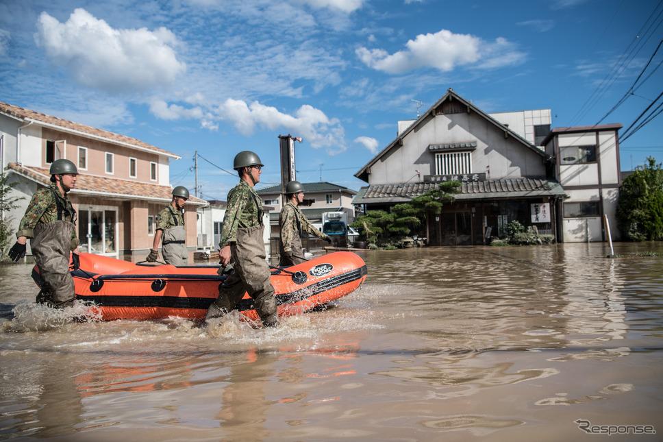 平成30年7月豪雨(7月8日、岡山県倉敷市)《photo (c) Getty Images》
