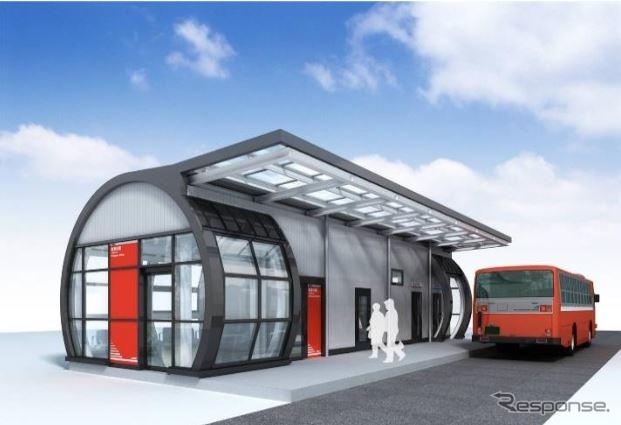 新しい気仙沼線BRT南気仙沼駅のイメージ。駅舎、乗降場、ベンチ、BRTロケーションシステムの駅モニターが整備される。《出典 JR東日本盛岡支社》