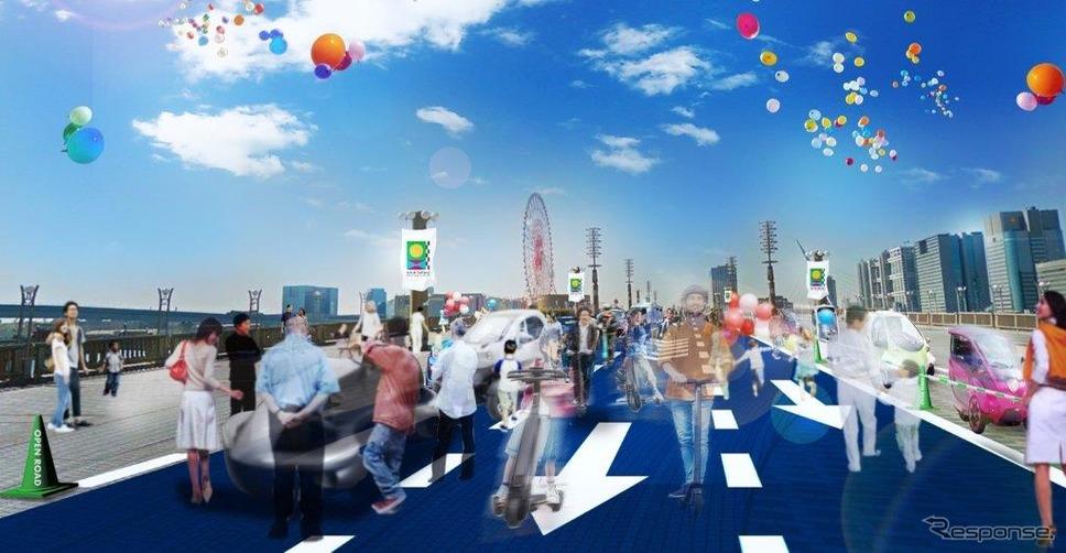 東京モーターショー2019会場の2つのエリアを結ぶOPEN ROAD《画像 日本自動車工業会》