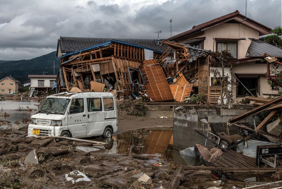 台風19号の被災状況(10月15日、長野県)《photo (c) Getty Images》