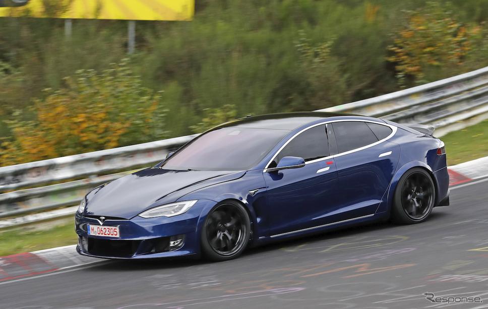 テスラ モデルS Plaid 開発車両(スクープ写真)《APOLLO NEWS SERVICE》