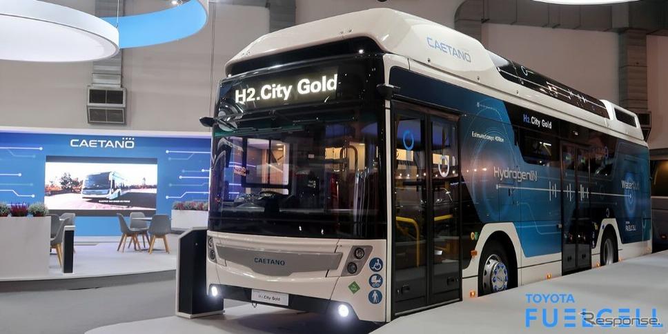 トヨタの燃料電池システム搭載のFCバス、カエタノ・バス社「H2.シティゴールド」(バスワールドヨーロッパ2019)《photo by Toyota》