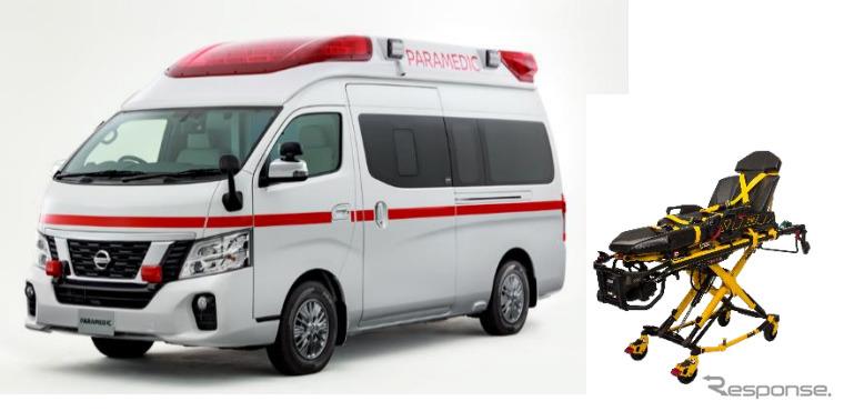 日産パラメディック 電動ストレッチャー、リチウムイオンバッテリー搭載《画像:日産車体》