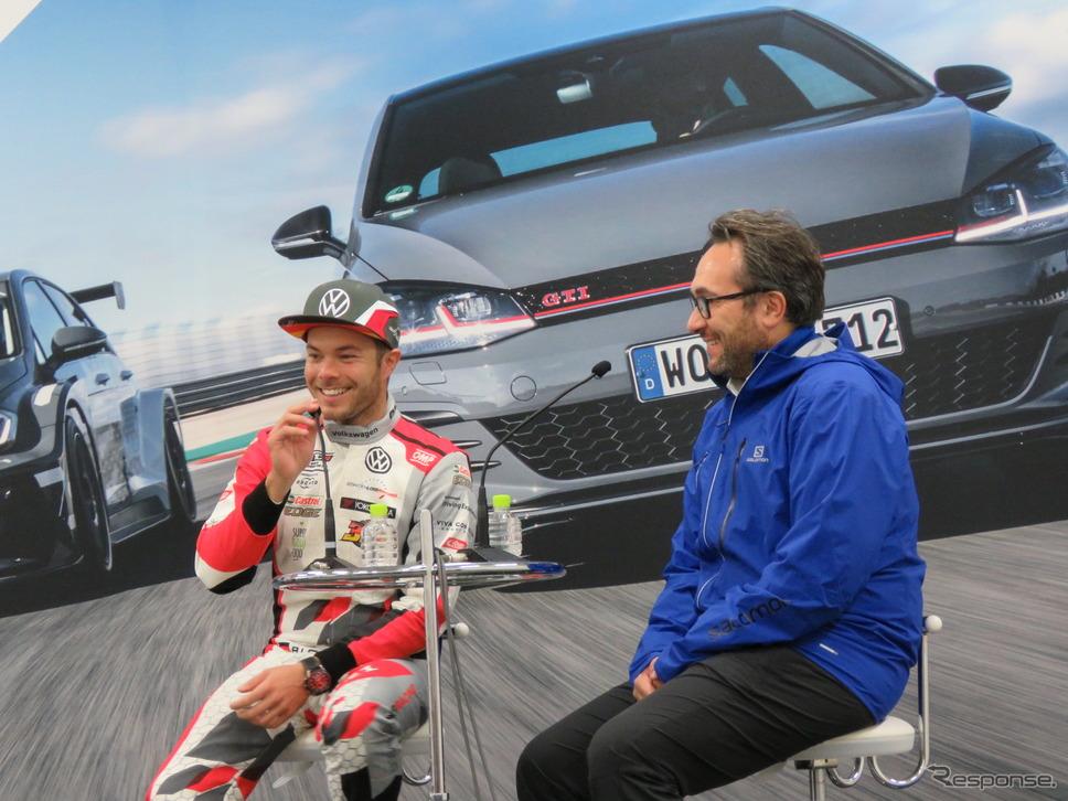 ロイヒター選手と、VWモータースポーツのスミーツ氏。《撮影 遠藤俊幸》