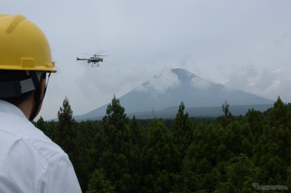 無人ヘリでの計測イメージ《画像:ヤマハ発動機》