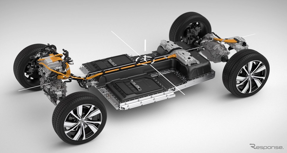 ボルボカーズの電動パワートレイン車の車台《photo by Volvo Cars》