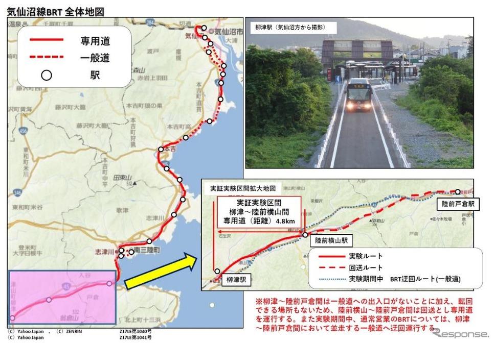 実験区間の概要。《出典 東日本旅客鉄道など》