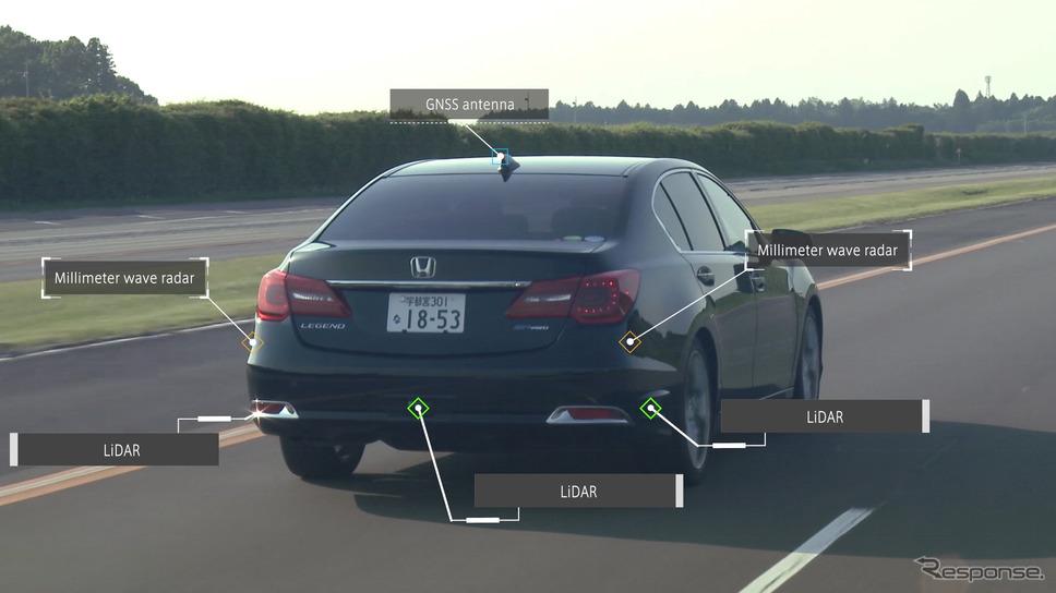 ホンダ・レジェンドがベースの自動運転テスト車両《photo by Honda》