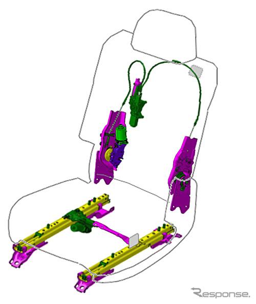 トヨタ紡織が初受注したシート機構部品《画像 トヨタ紡織》