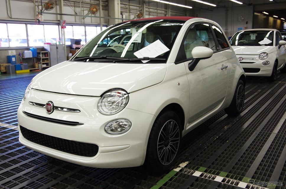 豊橋のFCAジャパン新車整備センターで整備を受けるフィアット500《撮影 宮崎壮人》