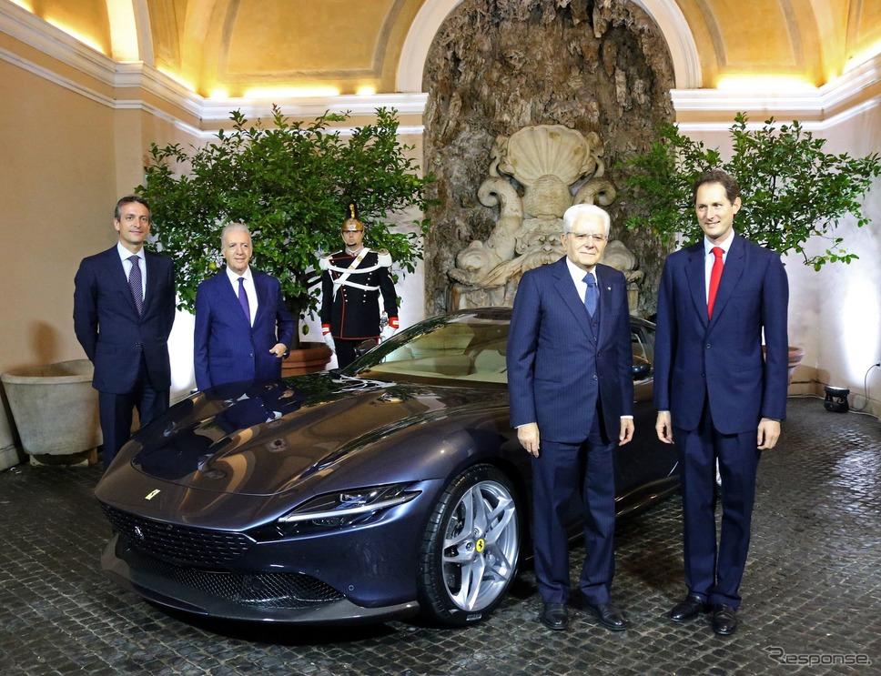 フェラーリ・ローマを視察したイタリアのセルジョ・マッタレッラ大統領(右から二人目)《photo by Ferrari》