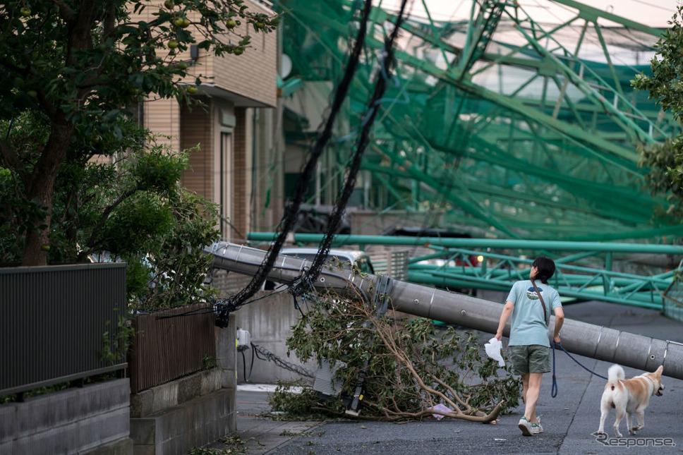 台風15号の被害(9月10日、千葉県市原市)《photo (c) Getty Images》