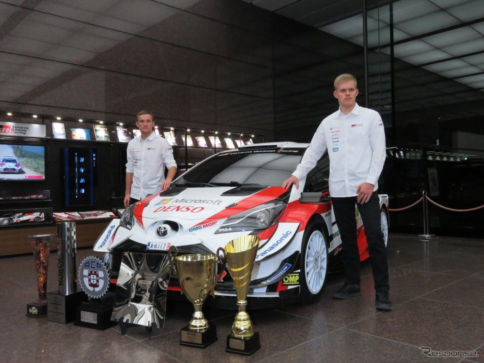 2019年WRCドライバー部門王者のタナク(右)と、コ・ドライバー部門王者のヤルヴェオヤ(左)。《撮影 遠藤俊幸》