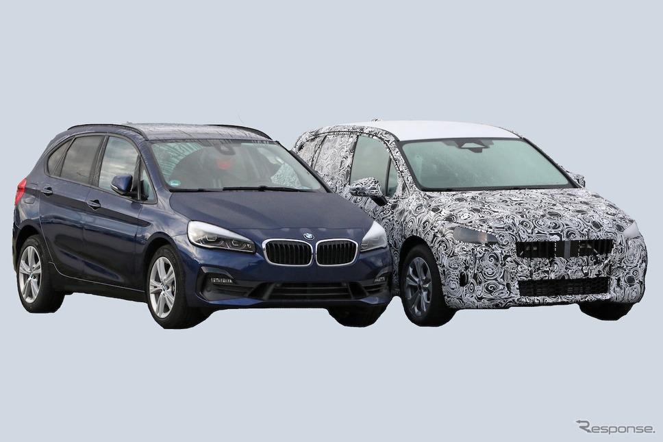 BMW 2シリーズアクティブツアラー の現行型(左)と次期型プロトタイプ(スクープ写真)《APOLLO NEWS SERVICE》
