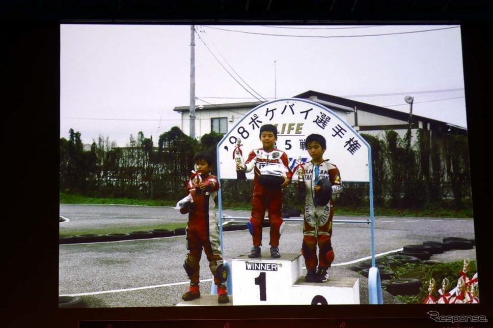 中上(中央)はポケバイのレースで頭角を現し、レース経験では3人の中で最も長い