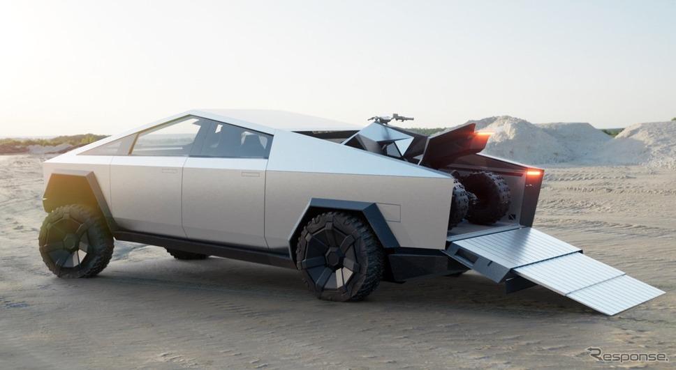 テスラ・サイバートラック。荷台に専用の電動四輪バギー《photo by Tesla》