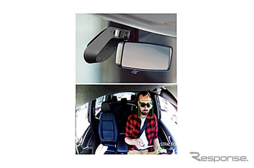 上:「ナウト」を車内から撮影した画像、下:インカメラからの映像《画像:オリックス自動車》