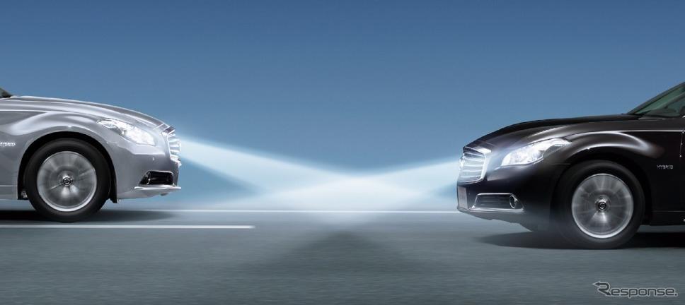 日産 シーマ ハイビームアシスト《画像:日産自動車》
