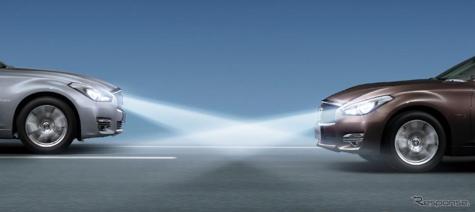 日産 フーガ ハイビームアシスト《画像:日産自動車》