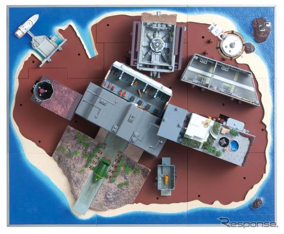 地下には国際救助隊の秘密基地と救助メカの格納庫がある《画像:デアゴスティーニ・ジャパン》