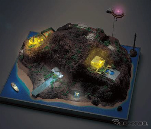 建物や格納庫に設置されたLEDが点灯する《画像:デアゴスティーニ・ジャパン》