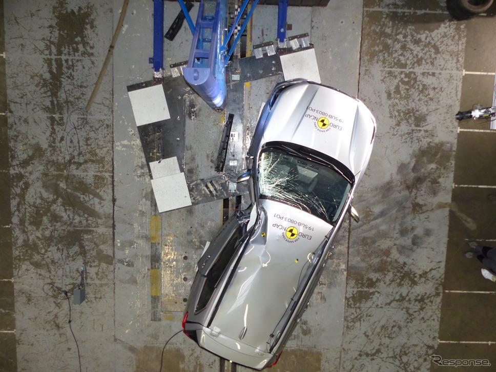 スバル・フォレスター 新型のポールクラッシュテスト《photo by Euro NCAP》