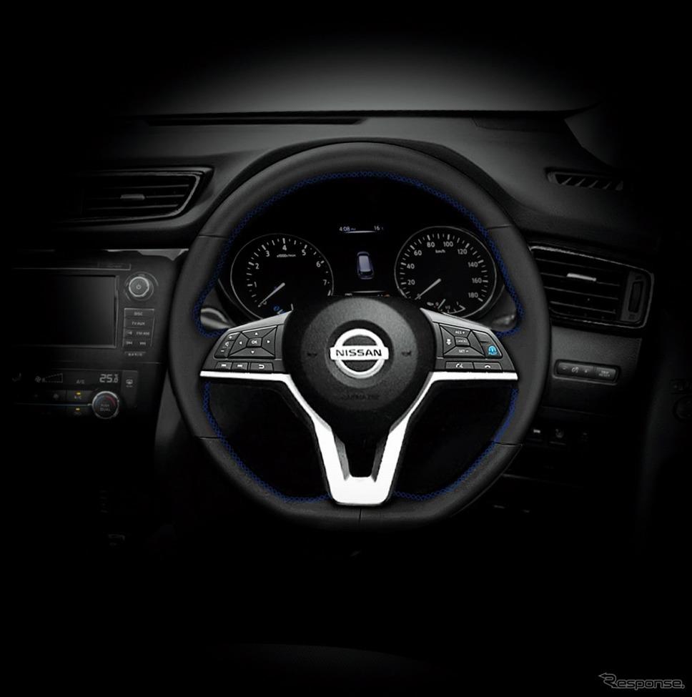 エクストレイル AUTECH プレミアムパーソナライゼーションプログラム ステアリング ブラック(オプション)《画像:日産自動車》