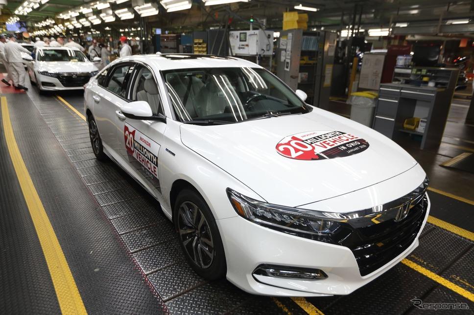 ホンダの米オハイオ工場の四輪車生産2000万台目となったアコード ・ハイブリッド《photo by Honda》