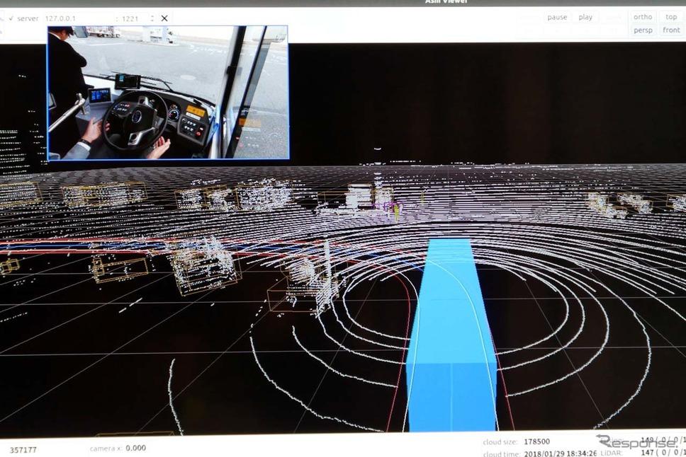 事前に取得した高精度マップ上を走行し、LiDARによる差分検出をしながら障害物を避けて走行する