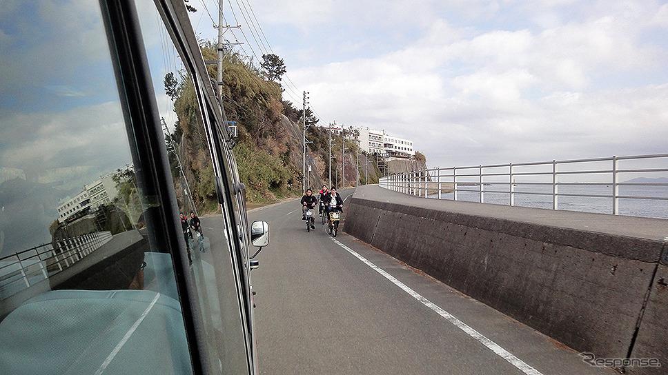 愛知県日間賀島での「離島における観光型 MaaS による移動」をテーマとした自動運転の実証実験。《撮影 大野雅人(Gazin Airlines)》