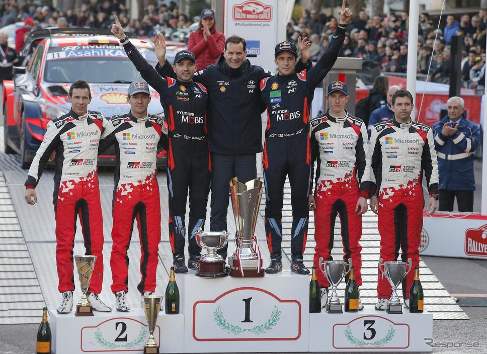 2020年WRC開幕戦の表彰式、トヨタが2-3位でダブル表彰台を獲得した。《写真提供 TOYOTA》