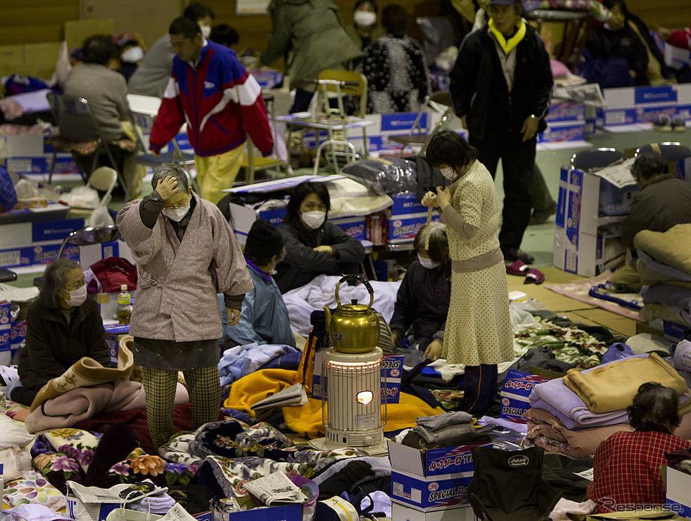 東日本大震災後、大船渡市の避難所(2011年3月20日)《photo (c) Getty Images》