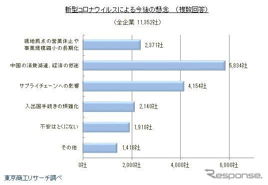 新型コロナウイルスによる今後の懸念《画像:東京商工リサーチ》
