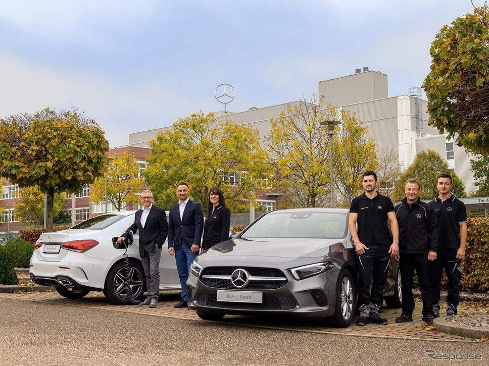 ドイツ・ラシュタット工場で生産を開始したメルセデスベンツ Aクラス 新型のPHV、A250e《photo by Mercedes-Benz》