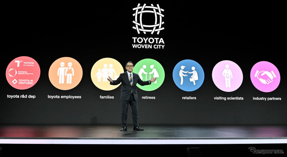 CES 2020でプレゼンテーションするトヨタ自動車の豊田社長《poto (c) Getty Images》