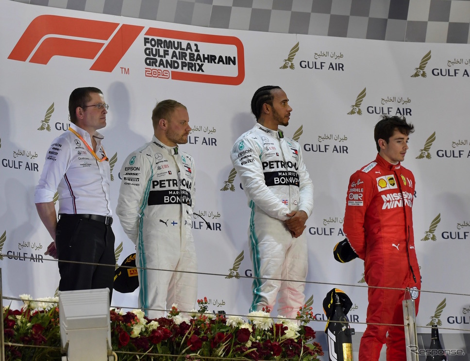 2019年F1バーレーンGPの表彰台。《写真提供 Pirelli》
