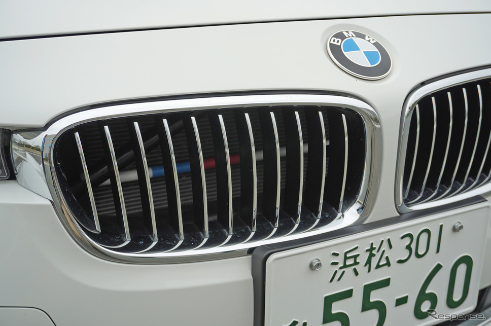BMW 3シリーズに装着されたパフォーマンスダンパー。キドニーグリルの奥に見える。Mカラー風なのはご愛嬌《撮影 宮崎壮人》