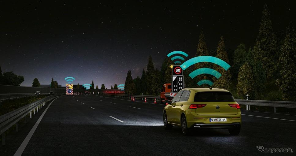 フォルクスワーゲン・ゴルフ 新型の「Car2X」通信《photo by VW》