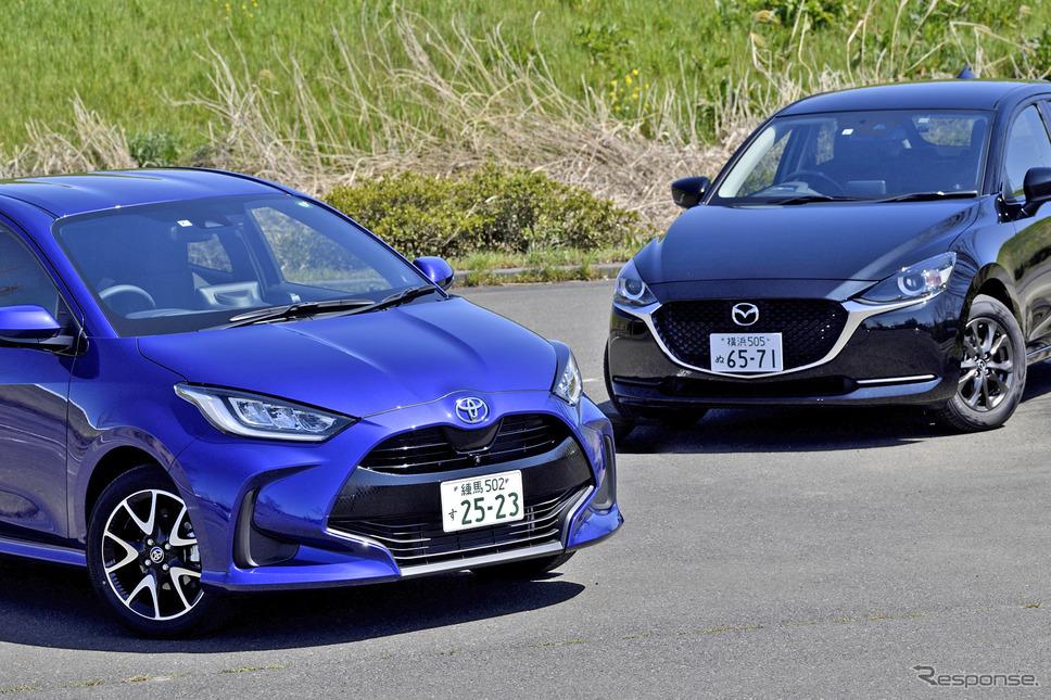 トヨタ ヤリス とマツダ2、同じBセグメントでMT車を設定する2台を比較した《撮影 雪岡直樹》