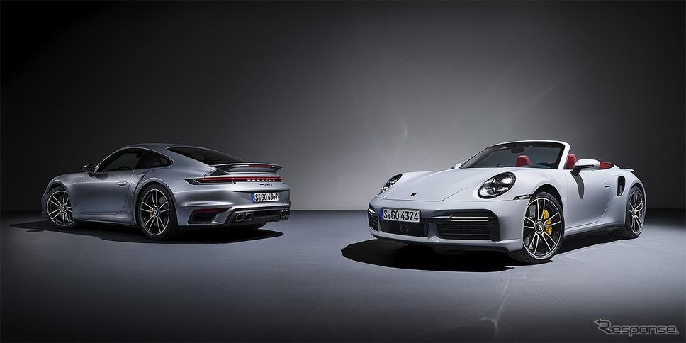 ポルシェ 911ターボS(左)と911ターボSカブリオレ《画像:ポルシェジャパン》