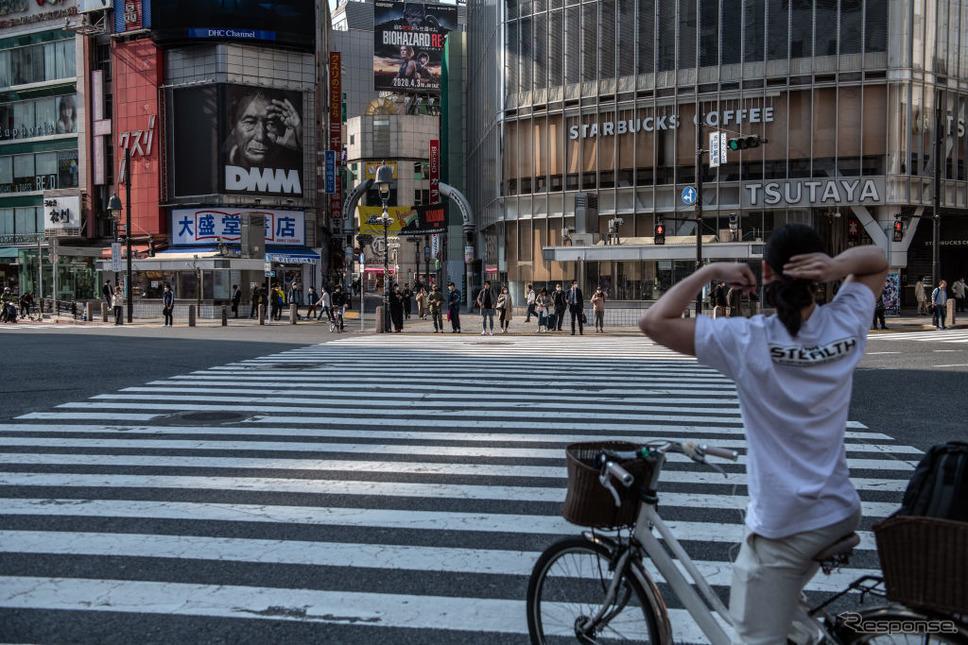 東京渋谷の交差点(4月8日)《photo (c) Getty Images》