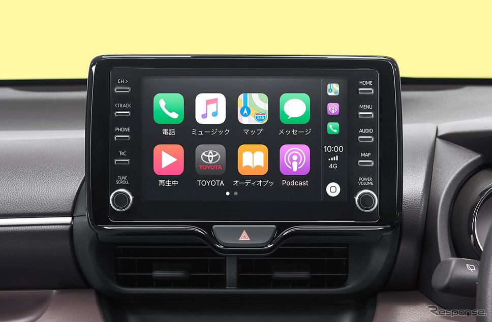 ヤリス 8インチディスプレイオーディオ(画面はApple CarPlay接続時)《画像:トヨタ自動車》