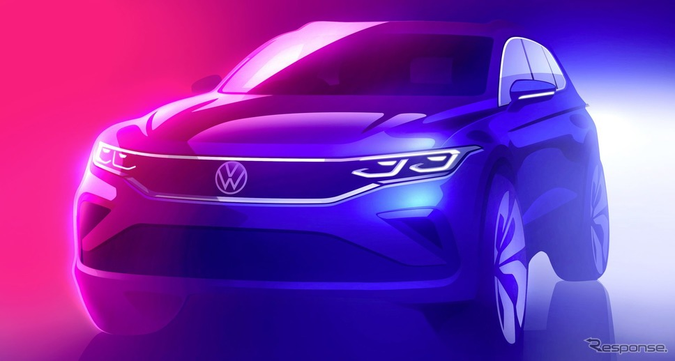 フォルクスワーゲン・ティグアン 改良新型のティザースケッチ《photo by VW》