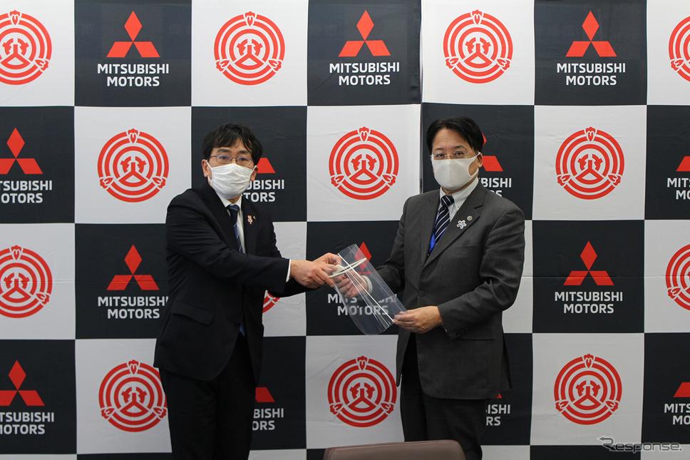 三菱自動車から岡崎市へのフェイスシールドの寄贈《写真 三菱自動車》