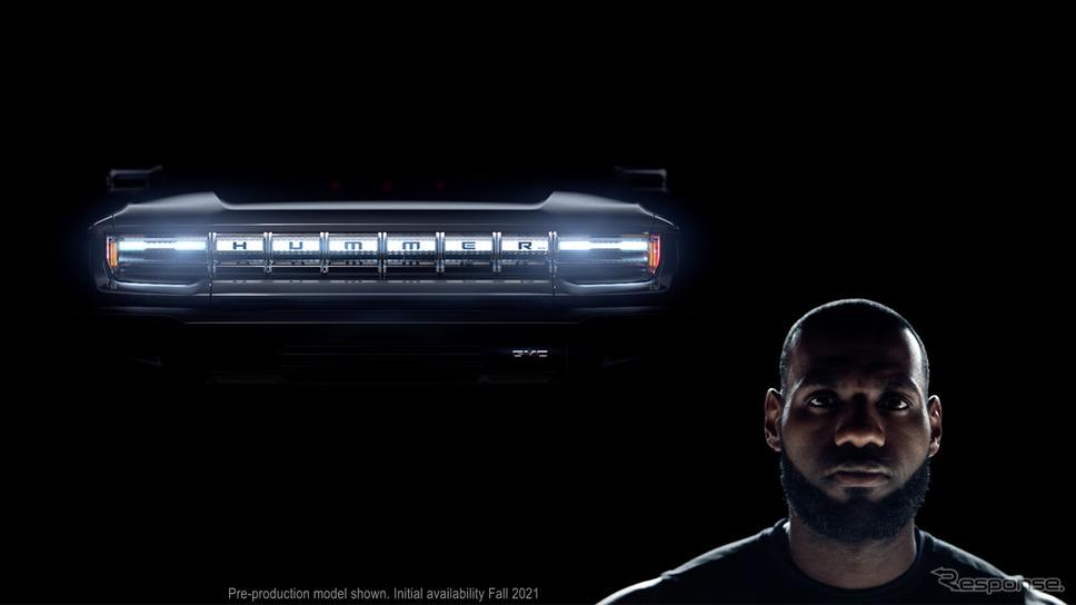 GMC ハマー EVのティザーイメージ。NBA(米プロバスケットボール)のロサンゼルス・レイカーズに所属するレブロン・ジェームズ選手を起用《photo by GMC》