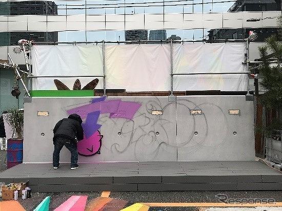 """フリーウォール: 自由にアートを表現できる""""壁""""《画像:フォルクスワーゲン グループ ジャパン》"""