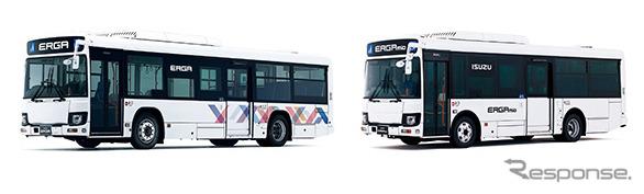 いすゞ エルガ(左)とエルガミオ《画像:いすゞ自動車》