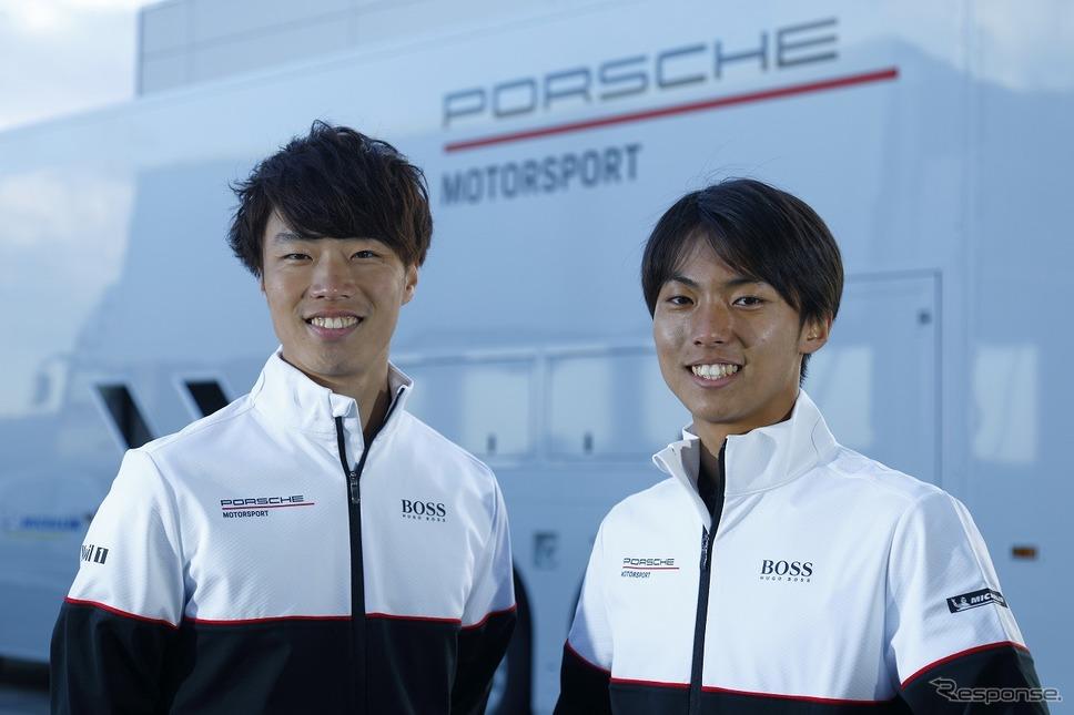 ポルシェジャパンジュニアドライバー、石坂瑞基(左)、大草りき(右)《画像:ポルシェ・ジャパン》