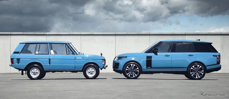 初代ランドローバー・レンジローバーとランドローバー・レンジローバー の50周年記念車「レンジローバー・フィフティ」《photo by Land Rover》