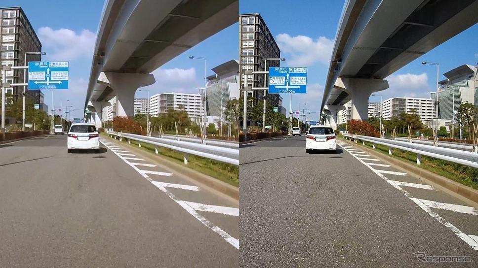 左:一般的なドライブレコーダーの映像/右:DVR3400の映像《写真提供 データシステム》